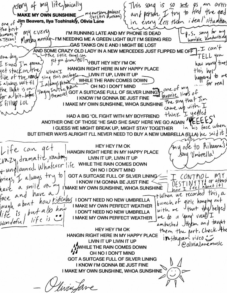 Olivia Lane Hand Annotated Lyrics