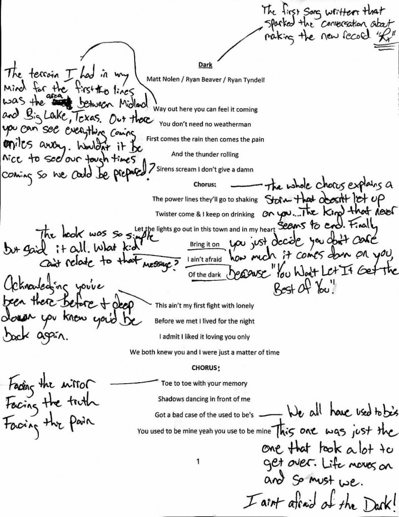 Ryan Beaver Dark Hand Annotated Lyrics