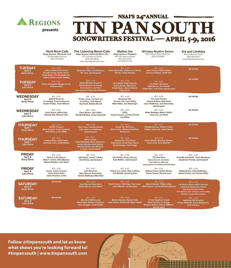 Tin Pan South schedule 2016 page 1